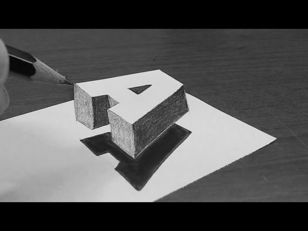 كيف ترسم حرف A ثلاثي الأبعاد بسهولة