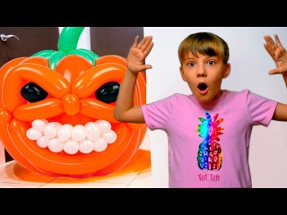 Bad Kids & GIANT Halloween PUMPKIN Accident! Johny Johny Yes Papa Nursery Rhymes Song for Children