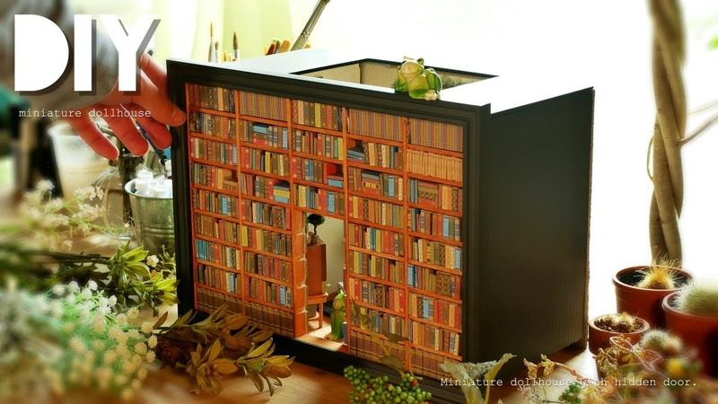 DIY☺︎ 100均のフォトフレームに隠し扉のあるドールハウスを作ってみた!M