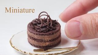 樹脂粘土とLEDレジンでチョコレートケーキとミントティーのミニチュア作りました。Make chocolate cake&mint tea miniature with clay and resin