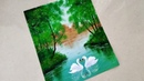 Swan Pair in the Lake Painting|Acrylic Landscape Painting tutorial for beginners|Easy swan painting|