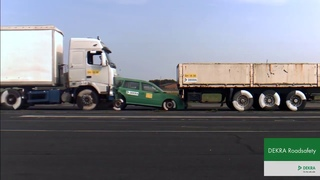 Crash Test With Truck Riding Into Car With 43km/h