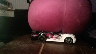 Heavy girl sits on toy car with her big fat butt ASMR