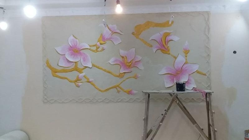 оформление стены в доме барельеф цветов своими руками мастер Наиль Саефундинов
