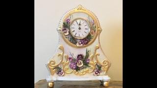 Каминные часы.  Имитация старинного фарфора.