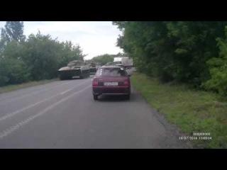Енакиево, Небольшая колонна танков и САУ ДНР