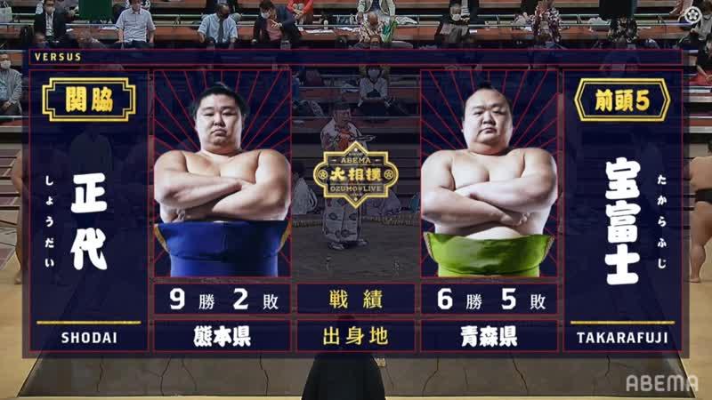 Shodai vs Takarafuji - Aki 2020, Makuuchi - Day 12
