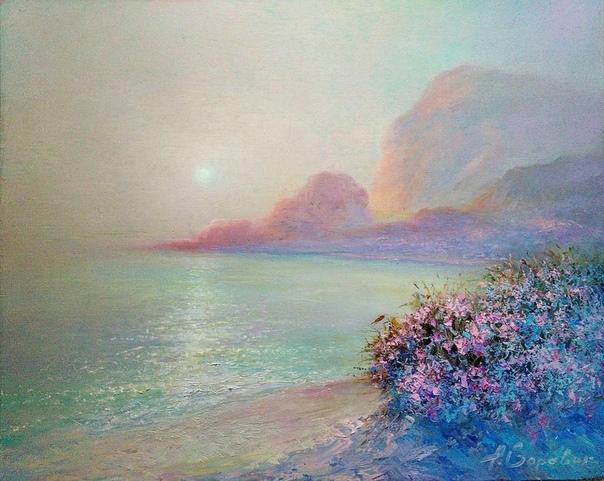 Андрей Боравик. Глядя на его работы, ты погружаешься в силу света, утонченность красок, внутреннюю теплоту. Палитра красок напоминает рассвет, восход Солнца в Италии, где много воздуха, легкость