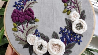 Artichokes and white roses wreath. May. Embroidery for beginners