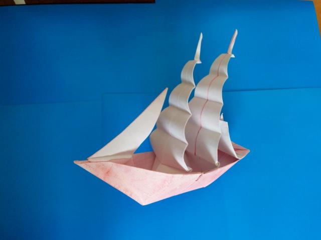 Корабль Фрегат оригами Frigate ship origami Patricia Crawford