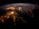 Вид ночью с космоса на планету Земля