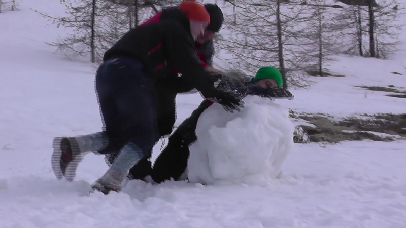 Студенты БГУЭП катают снежный ком