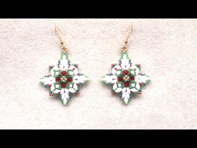 Beading4perfectionists Christmas earrings with superduo beads beading tutorial
