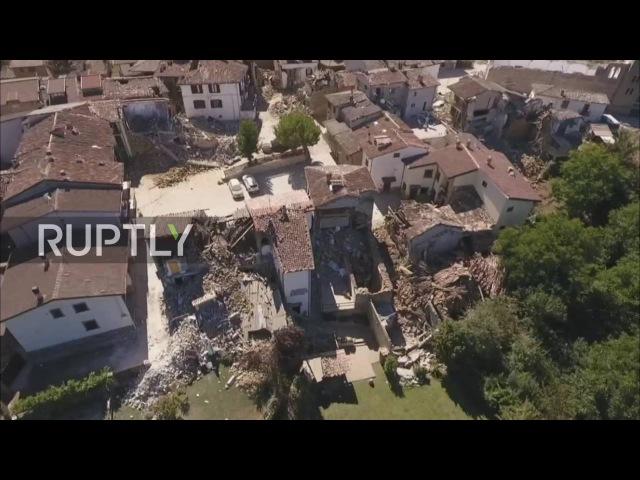 Италия Дрон кадры показывает масштаб разрушений в результате землетрясения пострадавших Аматриче