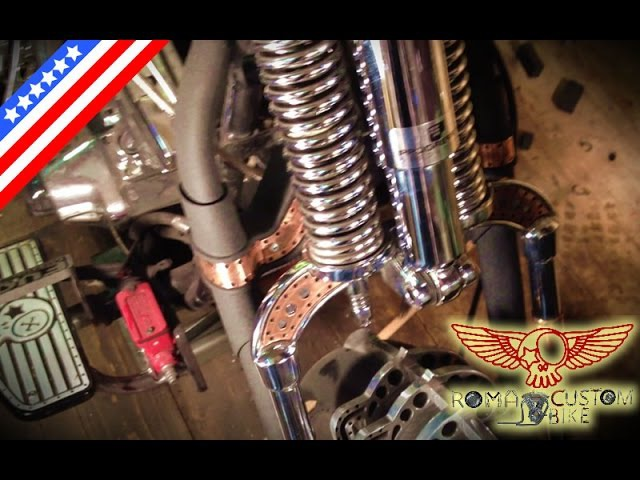 How to assemble Harley Davidson springer fork DIY tutorial - e3p2 Roma Custom Bike