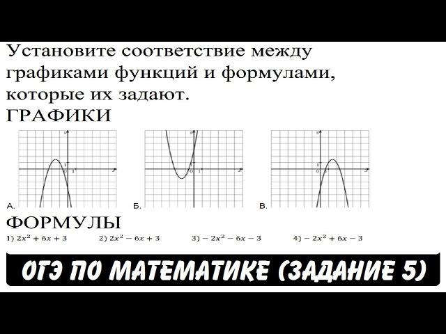 Установите соответствие между графиками функций ОГЭ 2017 ЗАДАНИЕ 5 ШКОЛА ПИФАГОРА