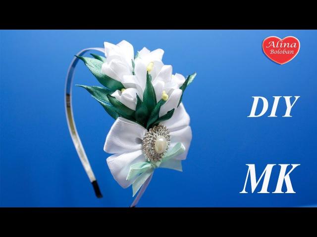 Подснежники Канзаши на Ободке . МК Snowdrops kanzashi on the rim. DIY ribbon flowers