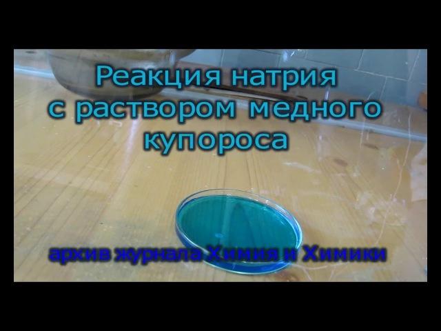 Реакция небольшого кусочка натрия и раствора медного купороса