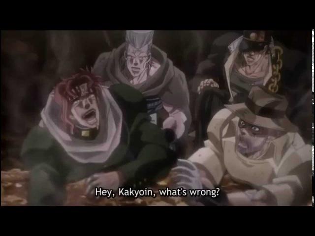 Kakyoin Polnareff and Jotaro laughing