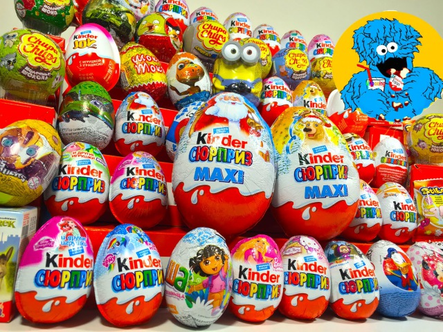 55 Киндер Сюрпризов,Unboxing Kinder Surprise Маша и Медведь, Barbie,Peppa Pig,Giant KinderMaxi