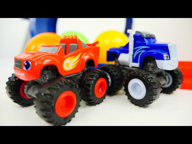 Oyuncak arabaların yarışı. Crusher ve Blazein çılgın kapışması. Oyuncak arabalar oyunu
