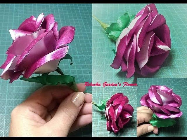 Kanzashi 136 - Flor de cetim - Rosa duas cores ! - Pétalas Duplas - DIY. PAP - Flower / 簪