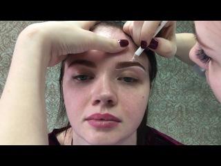 Подготовка к татуажу 3х зон. Эскиз бровей, век и губ.