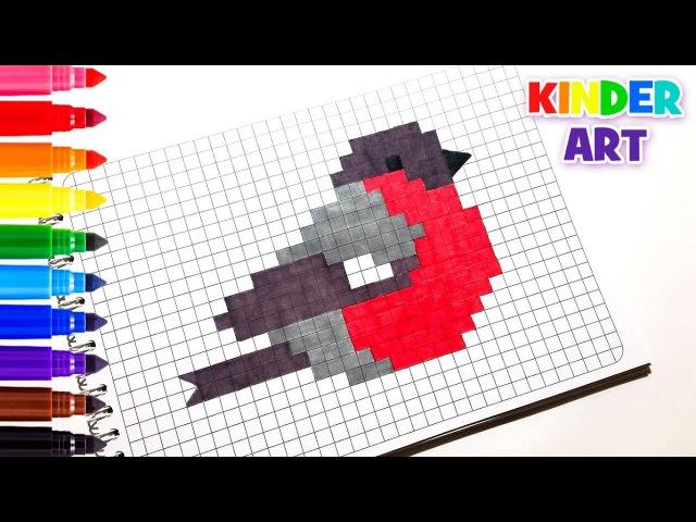 Снегирь - Рисунки по клеточкам | How to draw a bullfinch - Pixel art