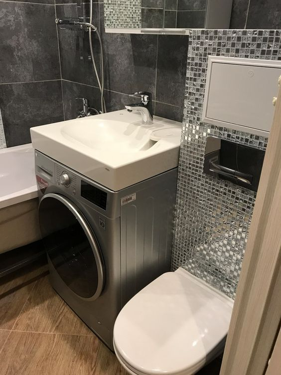 Ванная комната 6 кв.м. в серых тонах