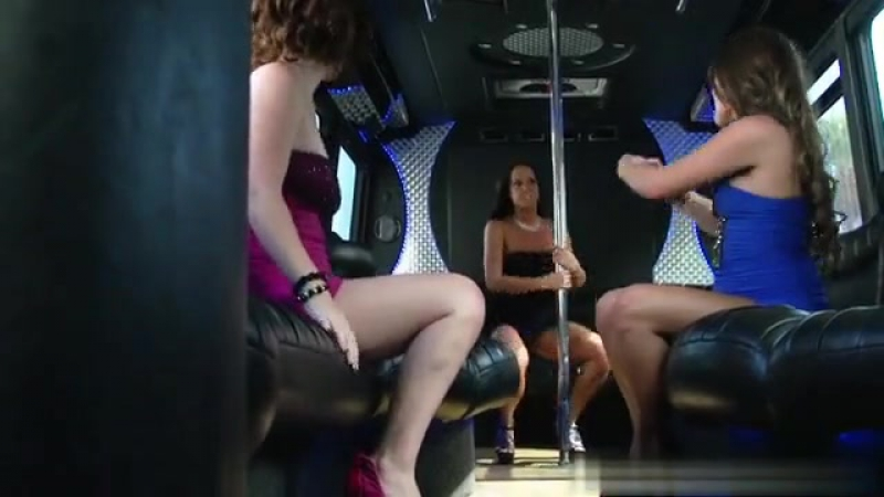 Party bus group sex with three ladies enjoying his dick