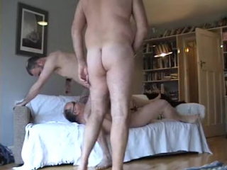 3 married mature male have fun when the wifes are away