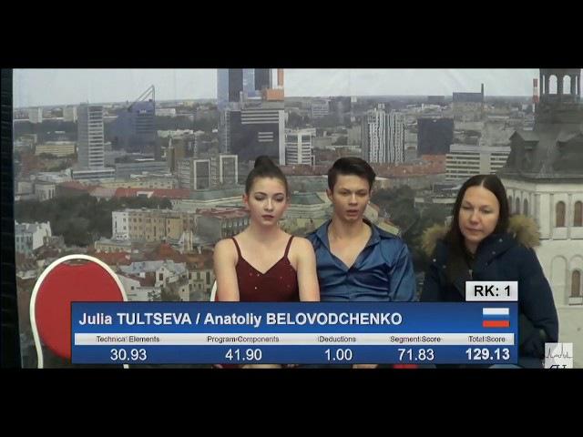 17 Julia TULTSEVA Anatoliy BELOVODCHENKO RUS 2017 TA⅃⅃INN TROPHY JUNIOR Ice Dance FD