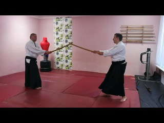 """Aikido protection with sword and empty hands """"uke nagashi"""""""