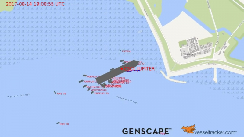3. Vesseltracker tracks the CSCL Jupiter running aground near Antwerp