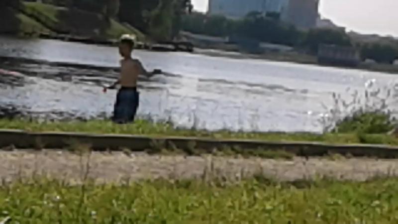 Управляемый маленький водный катерок плавает под чьим то управлением с радиопульта на поверхности Джамгаровского пруда