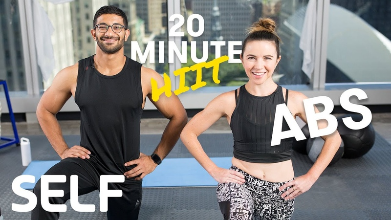 20 Minute HIIT Abs Focused Bodyweight Workout - No Equipment at Home With Warm-Up Cool-Down   SELF
