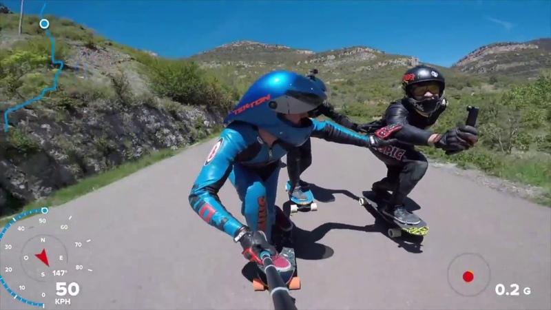 スケボー GoPro視点で60km超えのダウンヒル!高速スケートボード映像集 1230