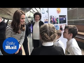Duchess of Cambridge Kate Middleton meets kids in Greenwich