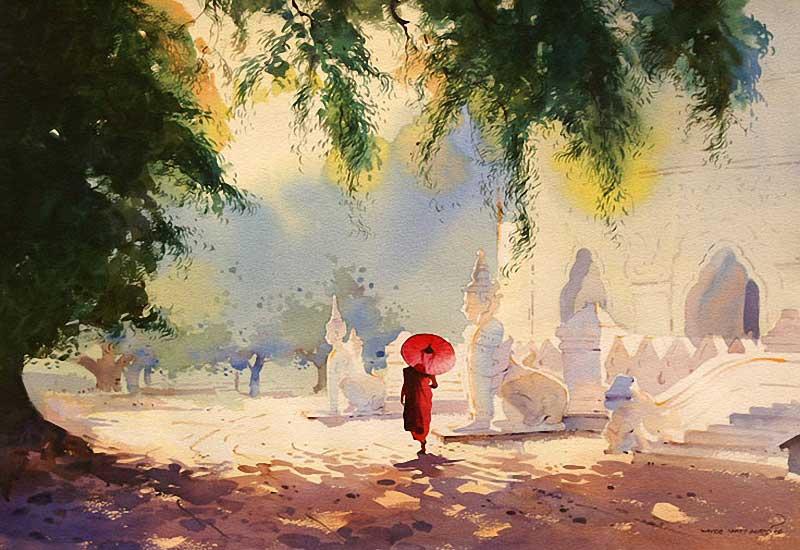 Картины бирманского живописца Мьё Вин Онга выдают в нём дружелюбное отношение к миру, любовь к дождю, солнцу и склонность к созерцанию.