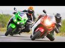 😈 Suzuki Hayabusa vs Kawasaki ZX-14R 👿 - Великое Противостояние 🎌!