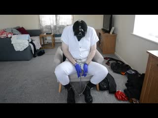 Handcuffed  shackled in medical latex gloves