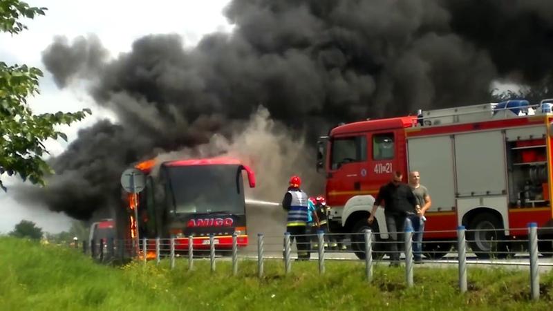 Pożar autobusu Łopoń, trasa Polańczyk Bytom