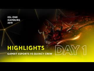 Gambit esports vs quincy crew   day 1   highlights esl one hamburg 2019