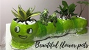 Unique craft idea with cement - Funny green worm flower pot