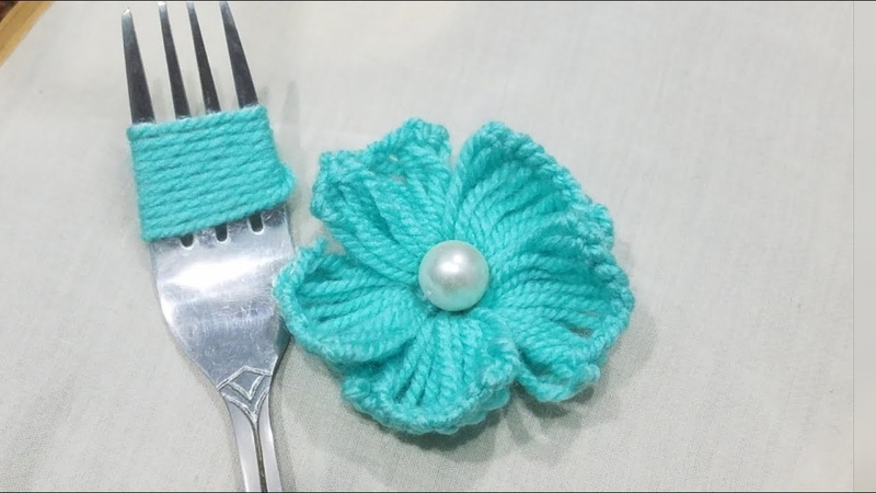 Hand Embroidery Amazing Trick Easy Flower Embroidery Trick Sewing Hack:Making Flower with Fork