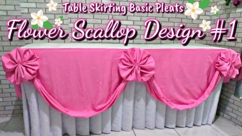 Flower Scallop Design 1 Table skirting Basic Pleats Diamond Design Rose Design Butterfly heart