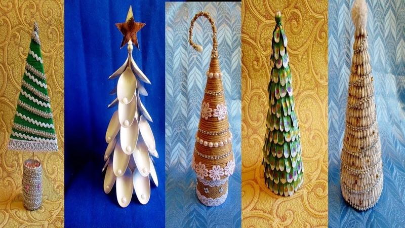 5 идей новогодних елок из разных материалов.Поделки на Новый год.Поделки своими руками.