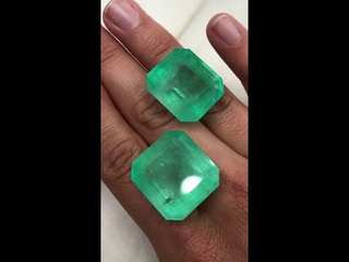 Two very LARGE Colombian emeralds weighing a total 1 ounce