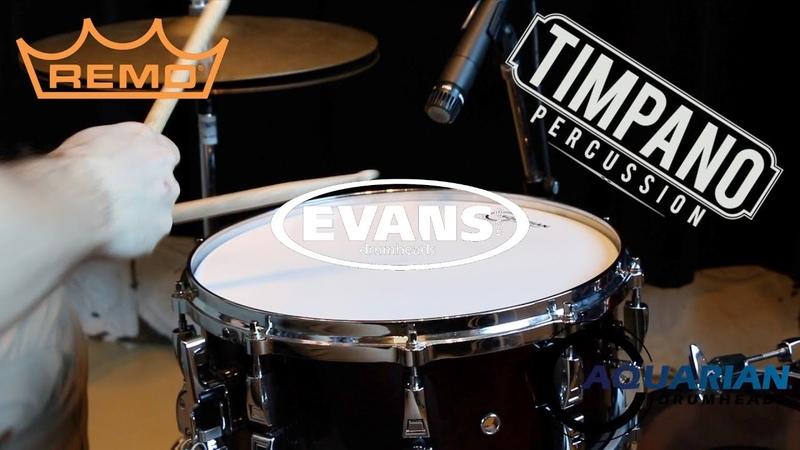 Aquarian vs Evans vs Remo 62 heads - ULTIMATE Snare Head Comparison - Timpano Percussion