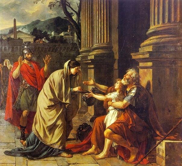 Велизарий просит милостыню (1781). Автор: Жак Луи Давид Jacques-Louis David (1748-1825)Картина «Велизарий просит милостыню» является свидетельством хорошего усвоения новых стилистических форм,